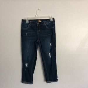 Justice Girls Distressed dark wash jeans size 14